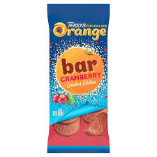Terrys Orange Cranberry bar Milk90g