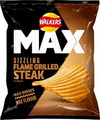 UK walkers crisps max strong sizzling Flame Grilled Steak